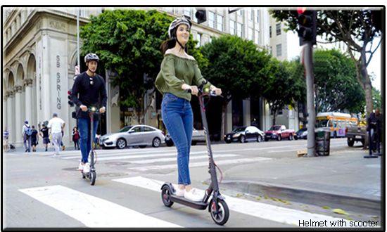 Helmet with scooter